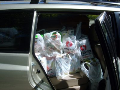 Car loaded for food bank