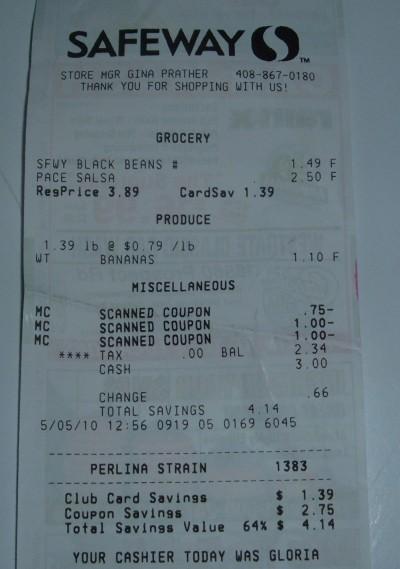 black bean receipt