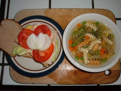 chicken sandwich and pasta soup lunch