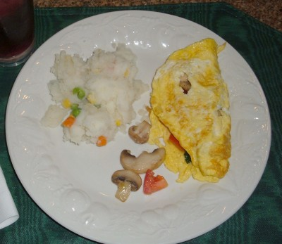 omelette and mashed potatoes