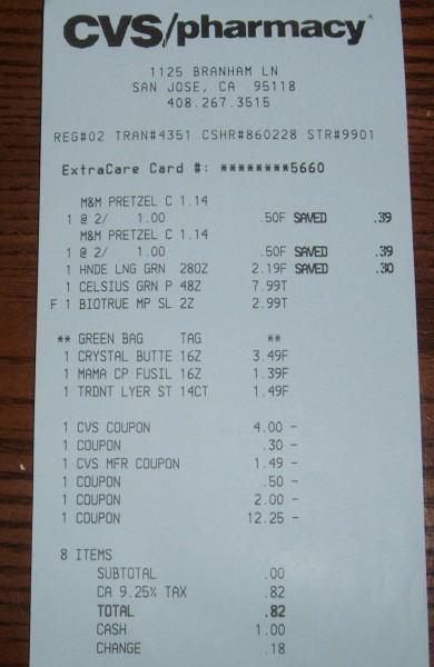 CVS receipt