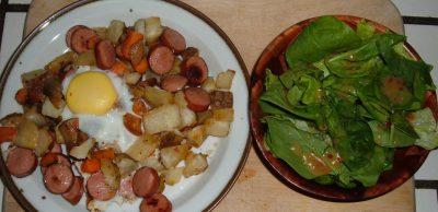 roasted veggie hash and salad