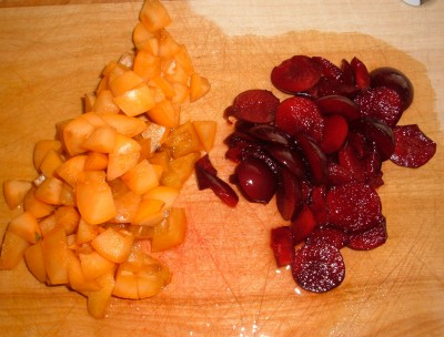 chopped loquats and cherry plums