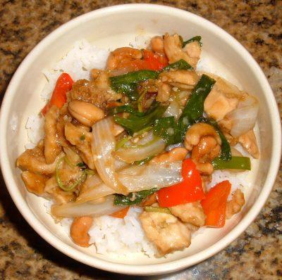 panda express Thai cashew chicken on rice