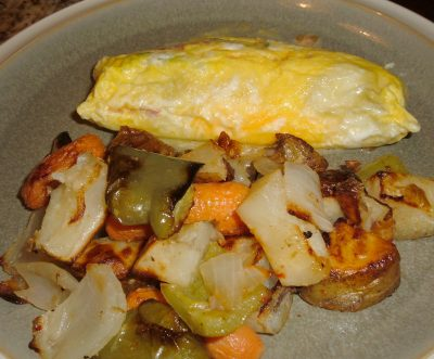 plastic bag omelet with roasted veggies