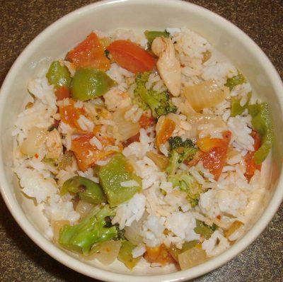 veggie chicken rice leftovers