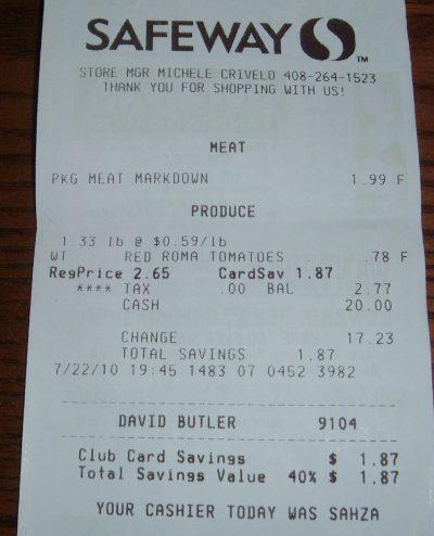 day 83 Safeway receipt