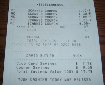 day 85 receipt total