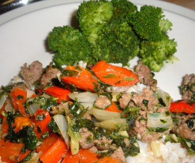 spinach beef rice with broccoli
