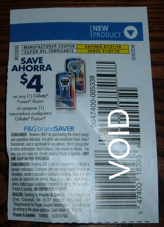 Fusion razor coupons