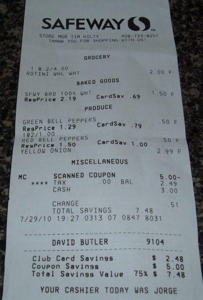 Safeway receipt