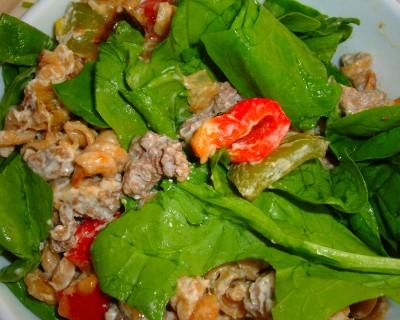 beef pasta spinach