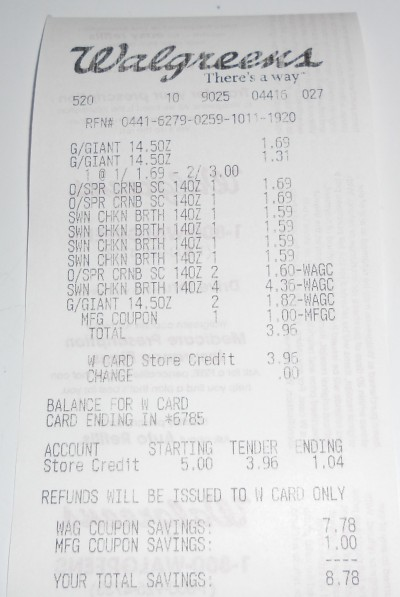 canned goods receipt