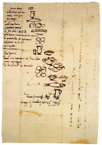 hand written shopping list by Michelangelo
