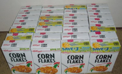 28 corn flake boxes