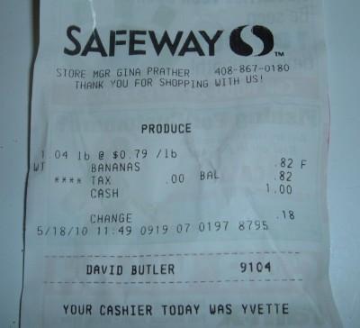day 18 bananas receipt