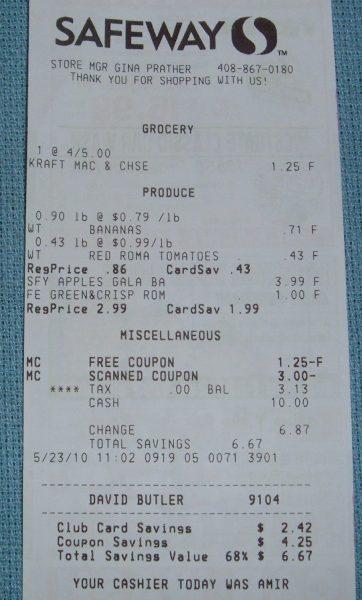 day 23 safeway store receipt