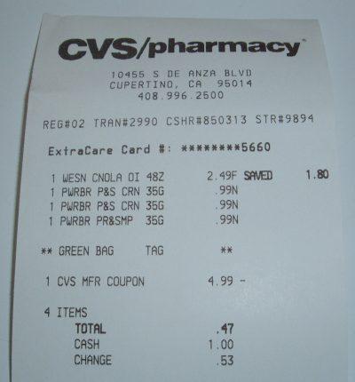 day 36 CVS receipt