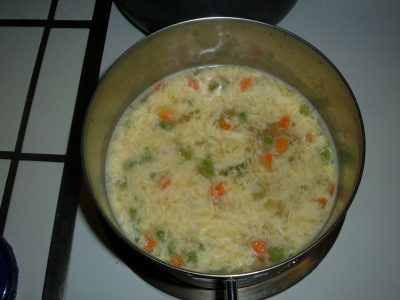veggie rice egg drop soup
