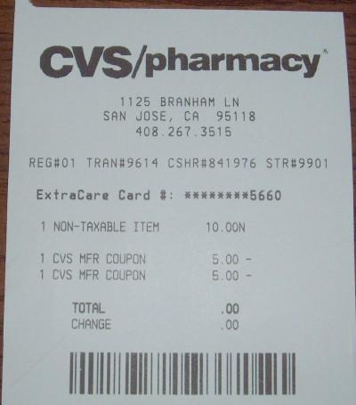 CVS money returned