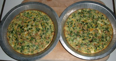 Spinach Onion mushroom and Carrot Quiche