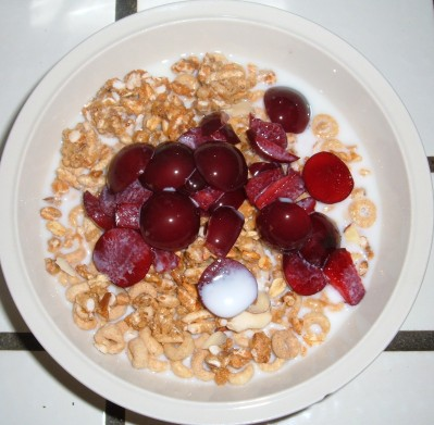 Cheerio Kashi cherry plum cereal