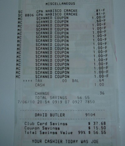 day 67 safeway receipt total