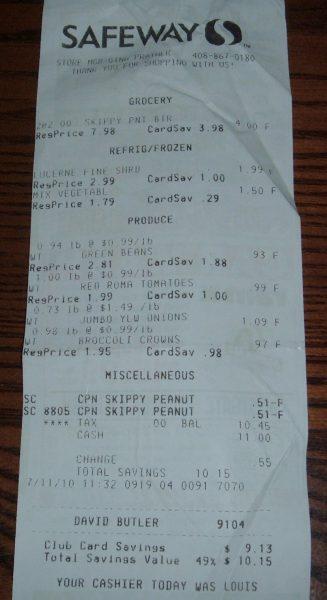 day 72 Safeway receipt