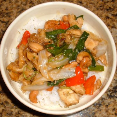 panda express Thai cashew chicken on rice