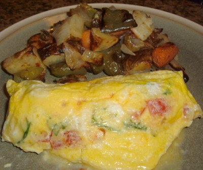 plastic bag omelet roasted veggies