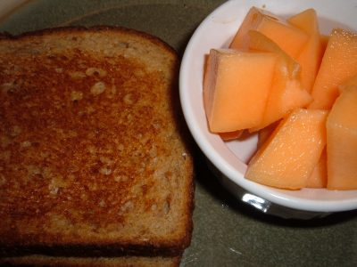 toasted cheese and cantaloupe