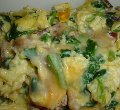 spinach cheese bacon scramble
