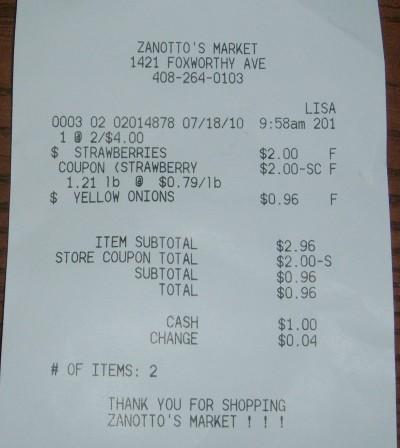 zanottos receipt