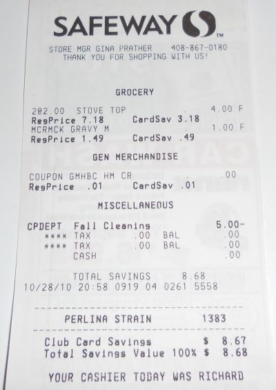 stuffing and gravy receipt